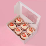 Kundenspezifisches White Card Paper Plain Cupcake Box mit PVC Window