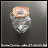 Glass Lidの170ml ClearおよびSquare Glass Storage Jar