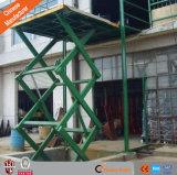 セリウムの貨物は倉庫で商品のための上昇のプラットホームを使用される切る