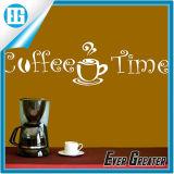 Кофеий стикера стены предпосылки винила желтые и кофейная чашка