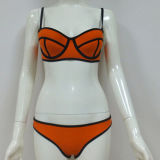 Neon Fabric를 가진 섹시한 Triangle Neoprene Bikini Swimsuits
