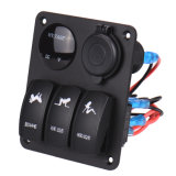 Waterproof Marine / Boat / Rvs / Truck Rocker Switch Panel 3 Gang avec 2 Chargeur USB 2 Slot Blue LED Toggle Dashboard