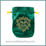 円形のサテンの宝石類袋のドローストリング袋