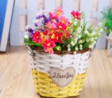 Flowerpot en osier multicolore avec deux traitements