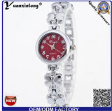 Do seletor de cristal da flor de Rosa da moldura da faixa da liga de prata do ouro do relógio de forma Yxl-808 2015 relógio magro do bracelete das senhoras
