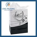 Alta bolsa de papel negra brillante de la maneta de la impresión (DM-GPBB-154)