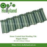 Azulejo de material para techos de acero revestido de piedra (diseño de la ondulación)