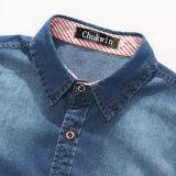 L'autunno 2016 Gira-Giù la camicia lunga del denim degli uomini del manicotto del collare