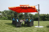 Las sillas de vector al aire libre de los muebles de la cafetería impermeable fijaron con el paraguas