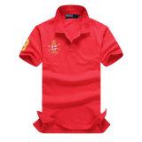 Camisa de polo bordada algodón de encargo del Mens (A298)