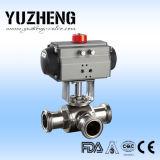 Válvula de esfera sanitária manual de três maneiras de Yuzheng