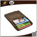 Дешевый случай карточки удостоверения личности кожи, кожаный держатель кредитной карточки