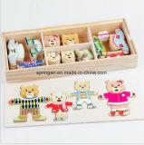 Jogo de quebra-cabeça etiquetas magnéticas brinquedo de madeira DIY