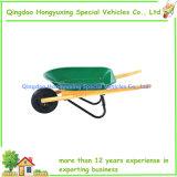 나무로 되는 손잡이를 가진 아이 크기 아이의 금속 외바퀴 손수레