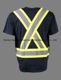 海軍短い袖の反射Tシャツの人の安全柔らかい作業Tシャツ