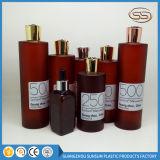 Bernsteinfarbige runde Haustier-Lotion-Shampoo-Flasche