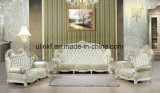 Sofá de cuero moderno de la sala de estar de madera clásica (UL-NSC088)