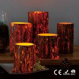 Rustikale Wachs-Weihnachtspfosten-Kerze der Faux-Baum-Barke-batteriebetriebene flammenlose LED