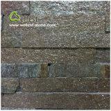 Piedra empilada Ledgestone amarilla oxidada de la cultura de la chapa de la piedra de la pared de la cuarcita