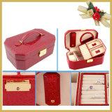 여행 가방을 포장하는 가죽 나무로 되는 화장품 /Jewellery