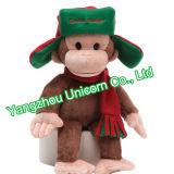 Peluche molle avec le singe de jouet de peluche d'écharpe de chapeau de Knit