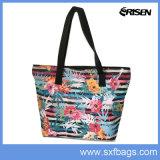 Sac d'épaule fait sur commande amical d'impression de fleur de mode de sac à provisions d'Eco