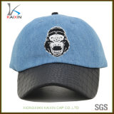 Sombrero de béisbol lavado aduana del dril de algodón con el borde de cuero