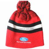 Capuchon rayé personnalisé chaud personnalisé de Beanie de laines de jacquard brodé par logo de sports de produit d'hiver bon marché de patin