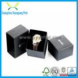 Caixa de relógio preta feita sob encomenda do papel da cor da alta qualidade com veludo