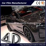 Autoadesivo nero dell'automobile del Rolls del vinile della fibra del carbonio 4D, autoadesivo del vinile