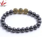 Htb-008 10mm Hematita Negro con 3 Big CZ Ball Oro Color Pulsera