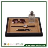 Alta qualidade PU couro / madeira Black Jewelry Display Bandeja