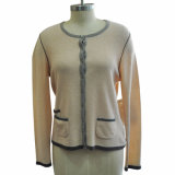Mujeres Round Neck Cardigan Knitwear con Button