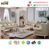 Sofà di legno classico del cuoio genuino della mobilia antica impostato (HC813)