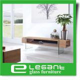 2015 Modern Design Hot Bent Clear Glass TV Stand com gavetas MDF