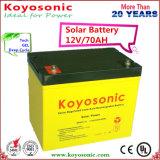 batterie profonde de La de cycle de gel de 12V 70ah utilisée dans les systèmes solaires ou de picovolte