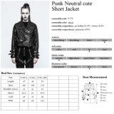 Frauen Y-772 plus Größen-grosses Pocket Punk verzierte Lederjacke