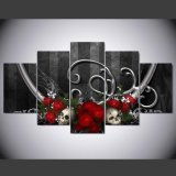 HD afgedrukt Rood het Schilderen van de Schedel van Rozen Canvas mc-145 van het Beeld van de Affiche van het Af:drukken van het Decor van de Zaal van het Af:drukken van het Canvas