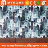 Papel pintado decorativo del vinilo del dormitorio moderno de la ciudad