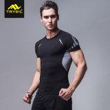 Le camice delle calzamaglia di compressione degli uomini mettono la camicia in cortocircuito di sport del manicotto