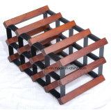 12의 병 선물 금속 대를 선반에 얹는 각종 나무로 되는 저장 포도주