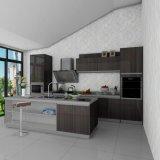 Gabinetes de cozinha modernos da melamina da grão de madeira escura