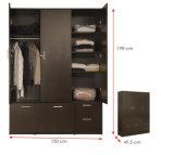 El MFC laminado melamina arropa el guardarropa de madera de la cabina de almacenaje (HX-DR318)