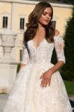 Vestido de casamento da princesa Metade Luva Champagne de Angelia
