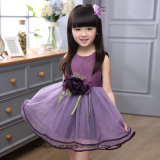 Principessa Sleeveless Dress Kids Summer Dress della ragazza con il fiore