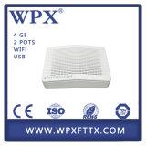 FTTX 4 Ge Gpon Ont Fiber ONU Gpon Modem com WiFi VoIP