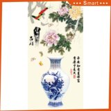 La peinture chinoise estampée par Digitals de fleur et de vase pour la décoration de vestibule