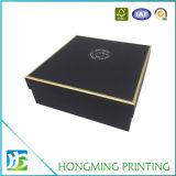 Carton de luxe de boîte-cadeau de logo d'or de 2 parties