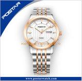 Reloj grande inoxidable de los pares del calendario de la venda de acero de la calidad de lujo