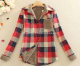 Chemise de coton épaisse rouge du `S de femmes de plaid